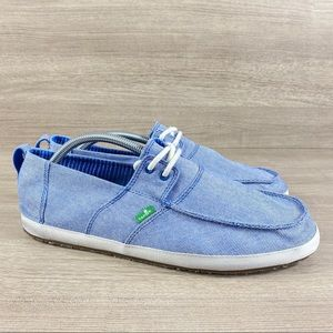 Sanuk Shoes - Sanuk Admiral TX Blue Lace Up Boat Shoes Slip On